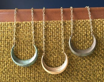 Brass/Patina/Blackened Crescent Moon Necklace