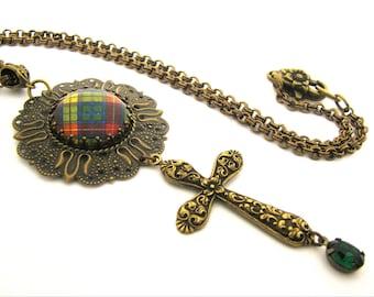 Scottish Tartan Jewelry - Ancient Romance Series - Buchanan Repousse Cross Medallion Necklace with Emerald Czech Glass Gem