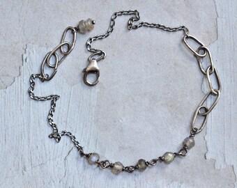 Labradorite Bracelet - Oxidized Sterling Silver Bracelet - Dainty Bracelet - Oval Link Bracelet - Minimalist Bracelet - Everyday Bracelet