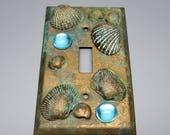 HALF OFF SALE Switch Plate  Shipwreck Patina Seashells and Gems