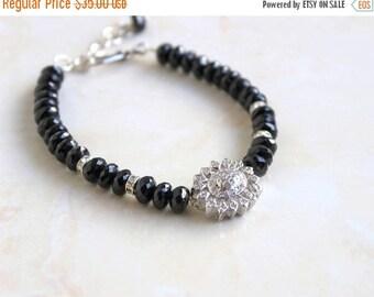 Summer Sale Black Spinel Gemstone CZ Sterling Silver Bracelet CB2