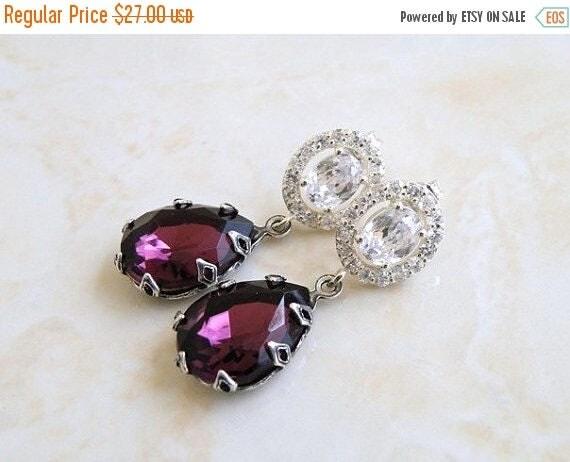 Summer Sale Amethyst Earrings Purple Stone Rhinestone Silver Stud BEV3