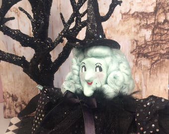 Halloween witch tree topper vintage retro inspired art doll witch doll witch centerpiece
