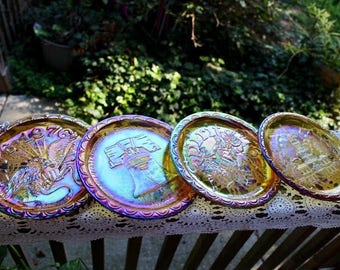 Set of 4 Vintage Marigold Carnival Glass Bicentennial Decorative Plates