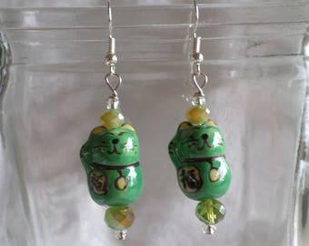 Maneki Neko Lucky Green Cats Earrings