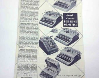 Vintage 1950s Catalog Page of Smith Corona Portable Typewriters for Home or Office