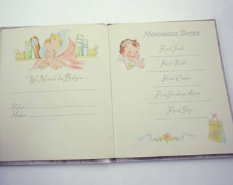 Baby's Own Book Vintage 1940s or 1950s Baby's Record or Keepsake Book