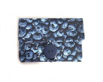 Blueberry cute card case. womens card holder. Dark navy fabric cute business card pouch. cotton teacher teen girl gift