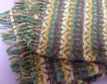 Handwoven mug mats in 4 shades of green, set of 4