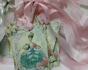 Marie Antoinette  Gift Tag -  French Country Gift Tags -  Marie Antoinette Gift Cards, Glittered Gift Tags, Glitter Tags, Set of Nine Tags