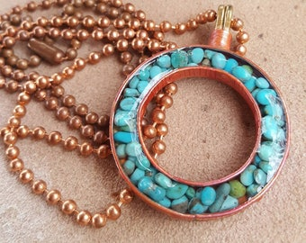 Long Turquoise Necklace - Copper Circle - Copper Ball Chain - Cowgirl Jewelry - Cowgirl Necklace by Heart of a Cowgirl
