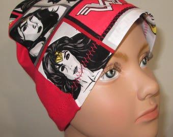 Kid's Chemo Hat Wonder Woman in Black Red White Children's Cancer Cap, Alopecia, Sleep Cap
