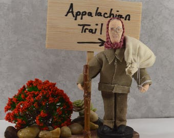 Appalachian Trail Hiker Grandma Gatewood Doll Art Miniature Diorama Historical Women