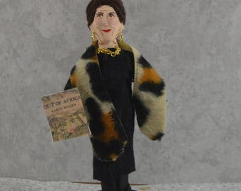 Karen Blixen Danish Author of Out of Africa Isak Dinesen Book Writer Miniature Figurine Handmade