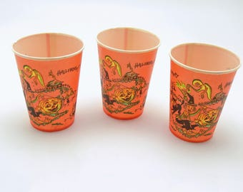 vintage halloween wax paper cups halloween decoration made in usa - Etsy Halloween Decorations