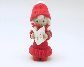 Vintage Christmas Decoration Wood Figurine Caroler Sweden Scandinavian