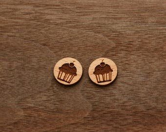 8 pcs Cup Cake Wooden Charm, Carved, Engraved, Earring Supplies, Cabochons (WC 205)