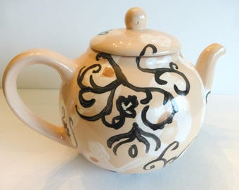 ceramic teapot set teapot and two cups salmon white black hand paintedswirly pattern