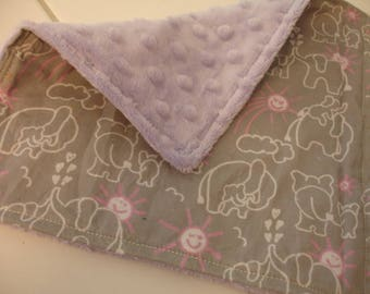 Elephants You Are My Sunshine Pink Gray with Lavender Minky Baby Burp Cloth/Quick Wipe 9 x 9 READY TO SHIP