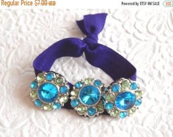 CLEARANCE - Blue green twist ties, ponytail holder, scrunchies, elastic tie,
