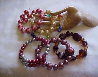 Sale~6 BEAD BRACELETS, GLASS Beads, Glass Pearls, Faux Pearls, a few Acrylic Beads, Colorful, in Style, Smart, Chic, 6 for price of 1, WoW!
