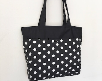 Everyday Tote with 4 exterior pockets - White Polka Dots on Black