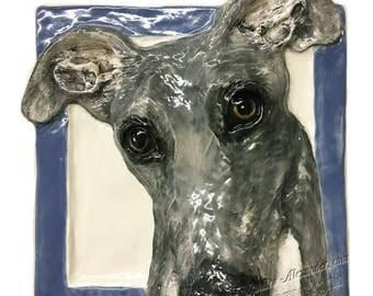 Galgo Espano Spanish Greyhound Dog Tile CERAMIC Portrait Sculpture 3d Art Tile Plaque FUNCTIONAL ART by Sondra Alexander In Stock