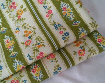 Vintage Ticking Style Pillowcases Stripe and Floral Set Of Two