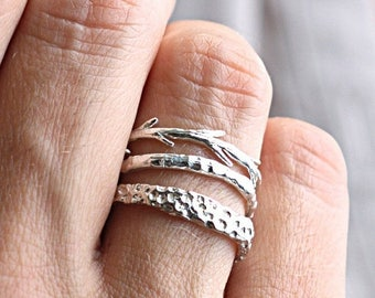 20% Off Memorial Day Sale Sterling Silver Coral Twig Set | Stacking Rings | Nature Inspired Rings