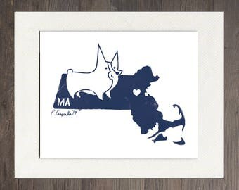 Massachusetts Matted Art Print