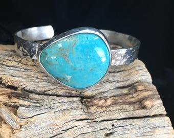 Old Stock Kingman Turquoise Sterling Silver Cuff Bracelet