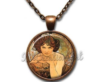 25% OFF - Mucha's Painting Emerald Glass Pendant Necklace Square Round AP153