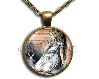 20% OFF - Alice In Wonderland Large Alice - Round Glass Dome Pendant or with Necklace by IMCreations -  AW110