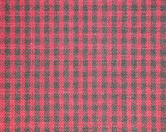 Small Check Fabric | Wine And Black Check Fabric | Woven Cotton Homespun Fabric | Rag Quilt Fabric | Doll Making Fabric | Primitve Fabric
