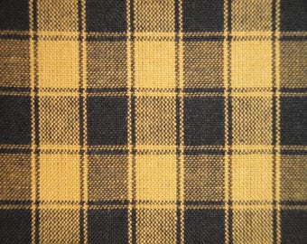 Mustard And Black House Check Homespun Fabric |  Primitive Check Fabric | Fall Fabric | Cotton Rag Quilt Fabric | Home Decor Fabric