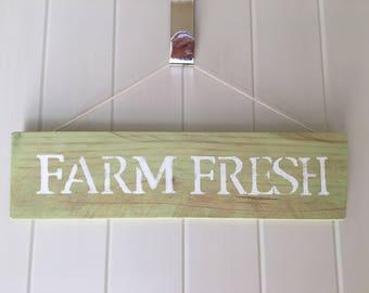 "Hand Stenciled Wooden Sign ""Farm Fresh"" 13"" x 3 1/2"""