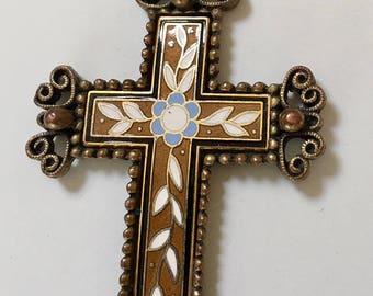 Vintage Enameled Floral Motif Florentine Finish Brass Cross Pendant