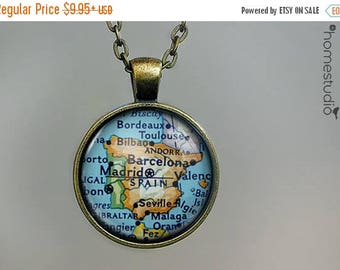 ON SALE - Spain Map : Glass Dome Necklace, Pendant or Keychain Key Ring. Gift Present metal round art photo jewelry by HomeStudio