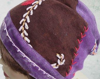Womens Hat BOHO Style Stone Wash Colorful Patch Knit Fabric With Colorful Embroidery Trim Chemo Hair Loss Cap Chic Teen Hat Head Sz 21- 23