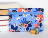 Rifle Paper Co Bag Handmade Blue Floral Zipper Pouch