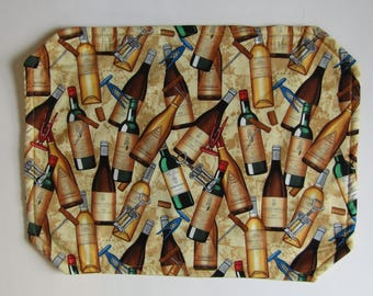 Placemat, Reversible, Insulated, Wine Bottles, Italian, Tuscany, Table Linens, Table Placemats
