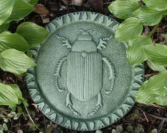 Concrete Stone Scarab Beetle Stepping Stone (Moss)