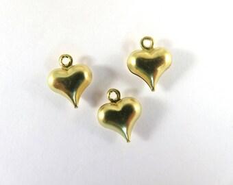 10 Heart Drop Unplated Pendant LF/CF/NF Brass 11x9mm - 10 pc - M7035-UN10
