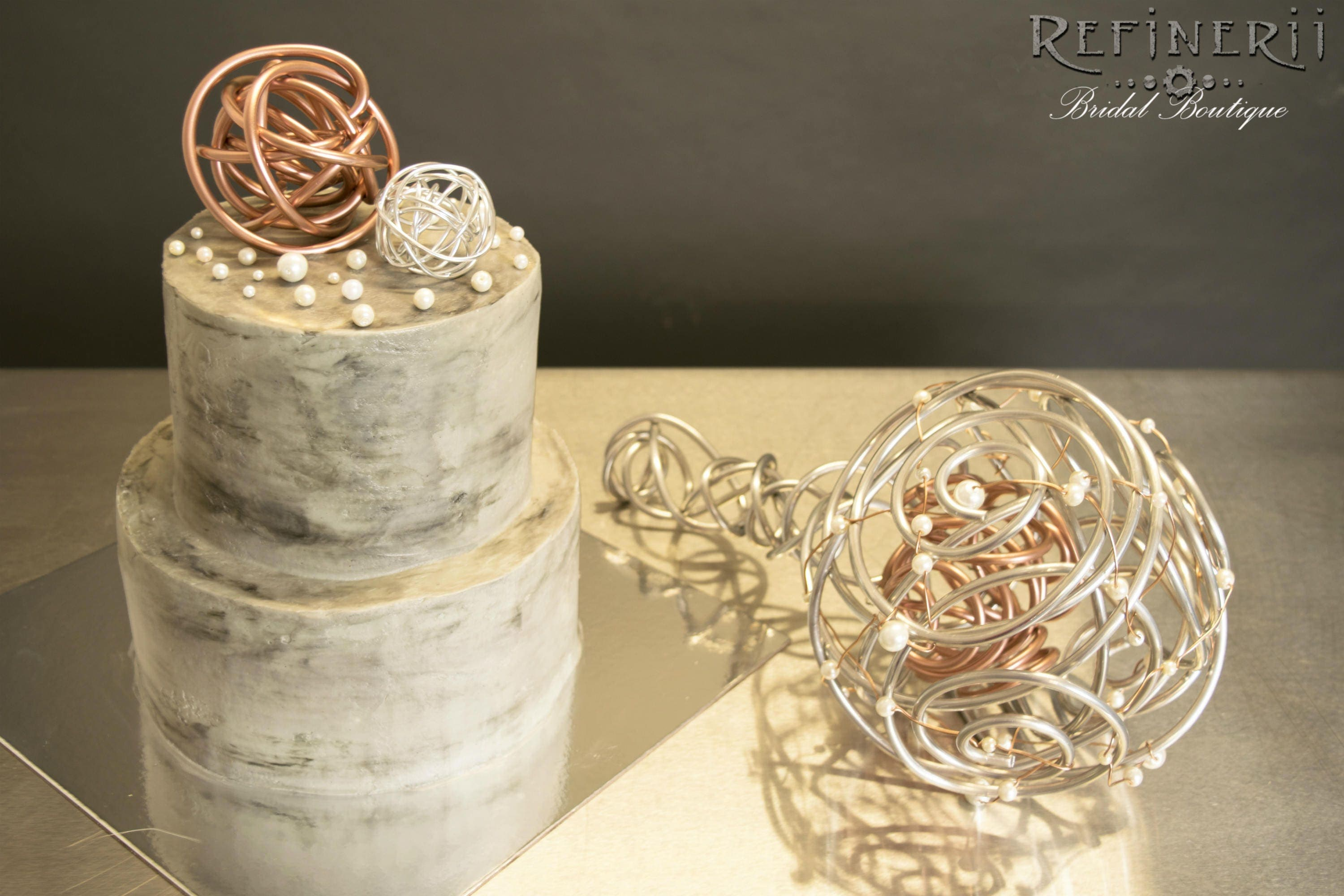 Rose Gold and Silver Aluminum Cake Topper