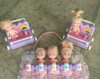 Vintage Tyco Quintuplet dolls 1990 Quints doll bottles strollers sleeping bags