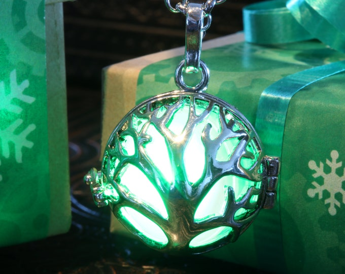 Necklace - Locket with glowing Orb, Silver Tree of life, Valentine Winter Season Holiday Gift wrapping