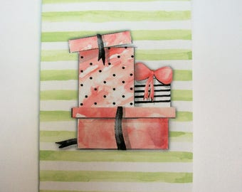Feminine Mini Folded Gift Enclosure Cards - Purse, Shoes, Perfume, Gift Boxes - Sets of 8. envelopes included - S16 980