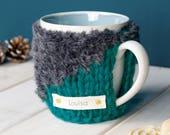 Mug Cosy, Personalised Contrast Mug Cosy, Mug Gift, Tea Lover, Tea Gift, Christmas Mug, Hot Chocolate, Girlfriend Gift, Knitted Mug Warmer
