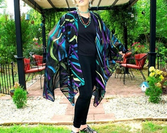 Ruana, Shawl, Cape, Wrap, Caftan or Beach Coverup--Elegant and Colorful--Ribbon Swirl on Black Sheer Designer Fabric--One Size Fits Most