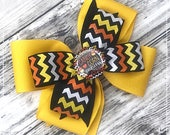 OOAK Stacked Classic Halloween Boutique Hairbow 4 Inch Posh Bow~Candy Corn Princess Yellow Chevron Glitter